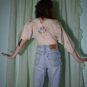 70s cotton hand embroidered batwing top